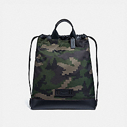TERRAIN DRAWSTRING BACKPACK WITH PIXELATED CAMO PRINT - F72926 - DARK GREEN MULTI/BLACK ANTIQUE NICKEL