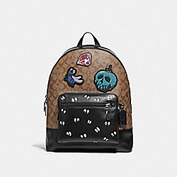 DISNEY X COACH WEST BACKPACK IN SIGNATURE CANVAS WITH SNOW WHITE AND THE SEVEN DWARFS PATCHES - F72954 - TAN