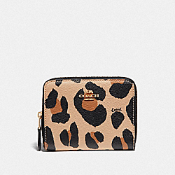 COACH F72968 - SMALL ZIP AROUND WALLET WITH ANIMAL PRINT NATURAL/GOLD