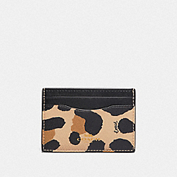 COACH F72971 Card Case With Animal Print NATURAL/GOLD