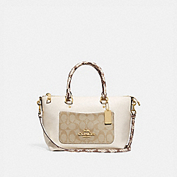 MINI EMMA SATCHEL WITH SIGNATURE CANVAS DETAIL - F72976 - LIGHT KHAKI/CHALK/GOLD