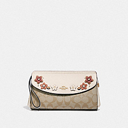 COACH F72995 - FLAP CLUTCH IN SIGNATURE CANVAS WITH FLORAL APPLIQUE LIGHT KHAKI MULTI/IMITATION GOLD