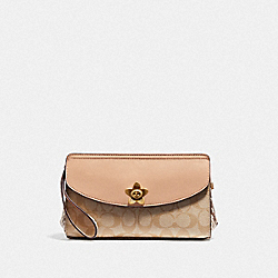COACH F72997 Flap Clutch In Signature Canvas LIGHT KHAKI/BEECHWOOD MULTI/IMITATION GOLD