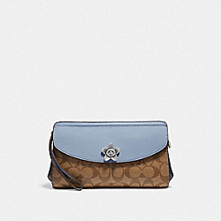 COACH F72997 Flap Clutch In Signature Canvas KHAKI/BLUE MULTI/SILVER