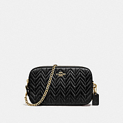 CHAIN CROSSBODY WITH QUILTING - F72998 - BLACK/IMITATION GOLD