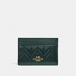 COACH F73000 Card Case With Quilting IM/EVERGREEN