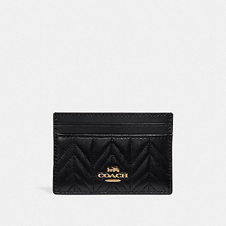 COACH F73000 CARD CASE WITH QUILTING BLACK/IMITATION GOLD
