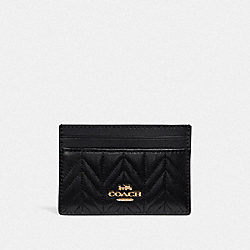 COACH F73000 - CARD CASE WITH QUILTING BLACK/IMITATION GOLD