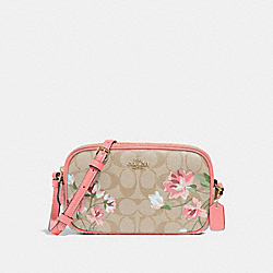 CROSSBODY POUCH IN SIGNATURE CANVAS WITH LILY PRINT - F73007 - LIGHT KHAKI/PINK MULTI/IMITATION GOLD