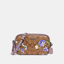 CROSSBODY POUCH IN SIGNATURE CANVAS WITH LILY PRINT - F73007 - KHAKI/PURPLE MULTI/SILVER