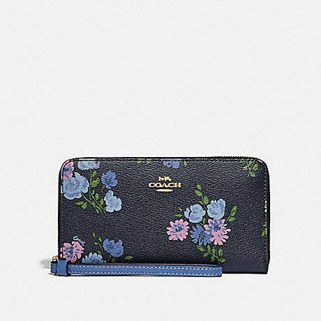 COACH LARGE PHONE WALLET WITH PAINTED PEONY PRINT - NAVY MULTI/IMITATION GOLD - F73008