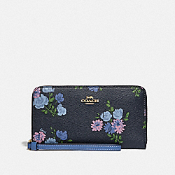 COACH F73008 Large Phone Wallet With Painted Peony Print NAVY MULTI/IMITATION GOLD