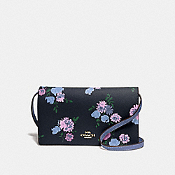 HAYDEN FOLDOVER CROSSBODY CLUTCH IN SIGNTUARE CANVAS AND PAINTED PEONY PRINT - F73010 - NAVY MULTI/IMITATION GOLD