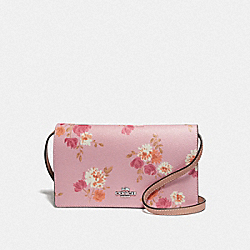 HAYDEN FOLDOVER CROSSBODY CLUTCH IN SIGNTUARE CANVAS AND PAINTED PEONY PRINT - F73010 - CARNATION MULTI/LIGHT KHAKI/SILVER