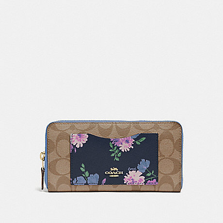 COACH F73011 ACCORDION ZIP WALLET IN SIGNATURE CANVAS WITH PAINTED PEONY PRINT POCKET NAVY MULTI/IMITATION GOLD
