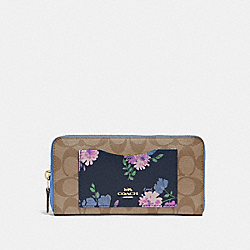 COACH F73011 - ACCORDION ZIP WALLET IN SIGNATURE CANVAS WITH PAINTED PEONY PRINT POCKET NAVY MULTI/IMITATION GOLD