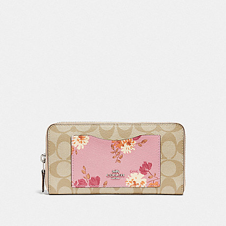 COACH F73011 ACCORDION ZIP WALLET IN SIGNATURE CANVAS WITH PAINTED PEONY PRINT POCKET CARNATION MULTI/LIGHT KHAKI/SILVER