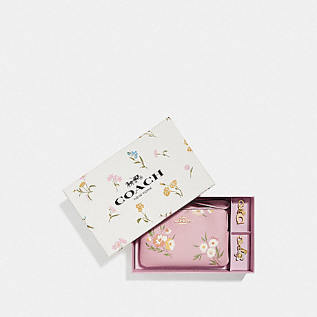 COACH F73016 BOXED CORNER ZIP WRISTLET WITH TOSSED DAISY PRINT CARNATION/GOLD