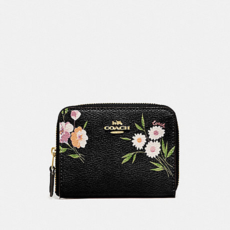 e148dc4b1a6f COACH F73017 SMALL ZIP AROUND WALLET WITH TOSSED DAISY PRINT BLACK  PINK IMITATION GOLD