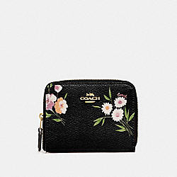 COACH F73017 Small Zip Around Wallet With Tossed Daisy Print BLACK PINK/IMITATION GOLD