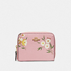 COACH F73017 Small Zip Around Wallet With Tossed Daisy Print CARNATION/IMITATION GOLD
