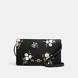 HAYDEN FOLDOVER CROSSBODY CLUTCH WITH TOSSED DAISY PRINT - F73018 - BLACK PINK/IMITATION GOLD