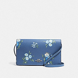 HAYDEN FOLDOVER CROSSBODY CLUTCH WITH TOSSED DAISY PRINT - F73018 - DARK PERIWINKLE/MULTI/SILVER