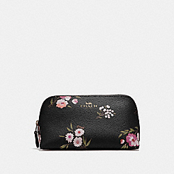 COACH F73019 Cosmetic Case 17 With Tossed Daisy Print BLACK PINK/IMITATION GOLD