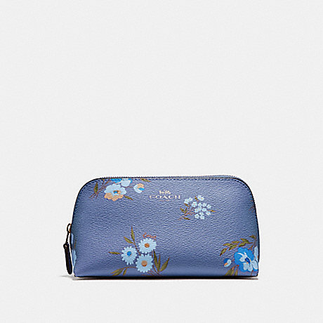 COACH F73019 COSMETIC CASE 17 WITH TOSSED DAISY PRINT DARK PERIWINKLE/MULTI/SILVER