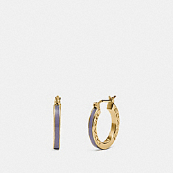 HUGGIE EARRINGS - F73021 - LIGHT PURPLE/GOLD