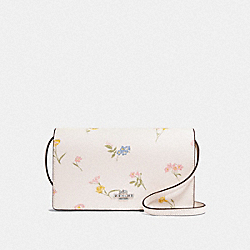 HAYDEN FOLDOVER CROSSBODY CLUTCH WITH MULTI FLORAL PRINT - F73024 - CHALK MULTI/SILVER