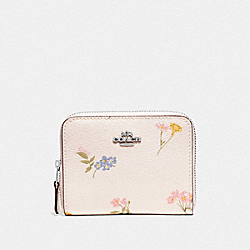 COACH F73025 Small Zip Around Wallet With Multi Floral Print CHALK MULTI/SILVER