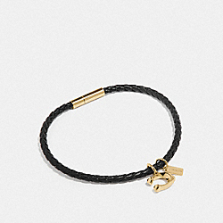 SIGNATURE CORDED BRACELET - F73034 - GOLD/BLACK