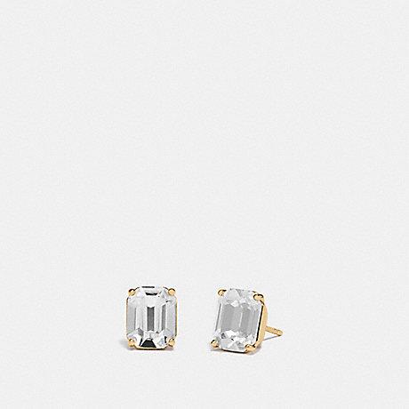 COACH F73036 EMERALD CUT STUD EARRINGS CLEAR/GOLD