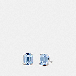 EMERALD CUT STUD EARRINGS - F73036 - BLUE/SILVER