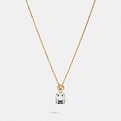EMERALD CUT CRYSTAL NECKLACE - F73037 - CLEAR/GOLD