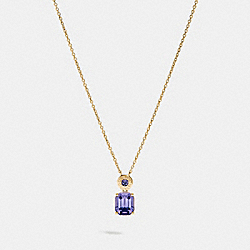 COACH F73037 Emerald Cut Crystal Necklace PURPLE/GOLD