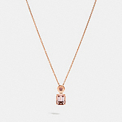 COACH F73037 Emerald Cut Crystal Necklace PEACH/ROSE GOLD