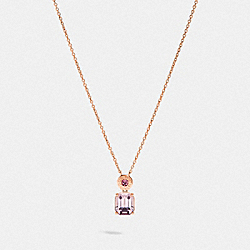 COACH F73037 - EMERALD CUT CRYSTAL NECKLACE PINK/ROSEGOLD