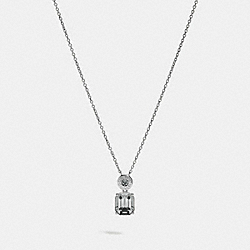 COACH F73037 Emerald Cut Crystal Necklace BLACK/SILVER