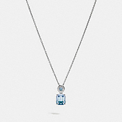 COACH F73037 Emerald Cut Crystal Necklace BLUE/SILVER