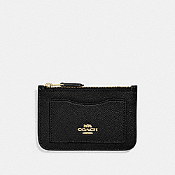 COACH F73043 Zip Top Card Case BLACK/GOLD