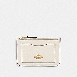 COACH F73043 - ZIP TOP CARD CASE CHALK/GOLD