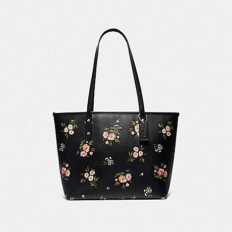 COACH F73052 CITY ZIP TOTE WITH TOSSED DAISY PRINT<br>蔻驰邮编手提包与菊花扔打印 黑色,粉红色模仿金
