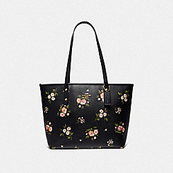 CITY ZIP TOTE WITH TOSSED DAISY PRINT - F73052 - BLACK PINK/IMITATION GOLD