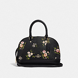 MINI SIERRA SATCHEL WITH TOSSED DAISY PRINT - F73053 - BLACK PINK/IMITATION GOLD