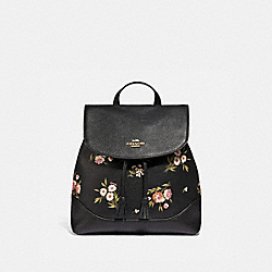 ELLE BACKPACK WITH TOSSED DAISY PRINT - F73054 - BLACK PINK/IMITATION GOLD