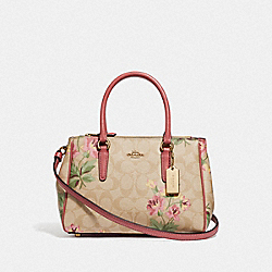 MINI SURREY CARRYALL IN SIGNATURE CANVAS WITH LILY PRINT - F73055 - LIGHT KHAKI/PINK MULTI/IMITATION GOLD