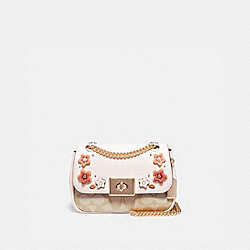 MINI CASSIDY CROSSBODY IN SIGNATURE CANVAS WITH FLORAL APPLIQUE - F73057 - LIGHT KHAKI MULTI/IMITATION GOLD