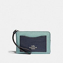 COACH F73061 Corner Zip Wristlet In Colorblock SEAFOAM/MULTI/SILVER